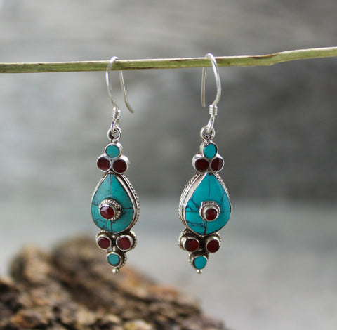 Turquoise and Coral Flower Drop Earrings