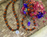 Rudraksha and Smoky Quartz Mala