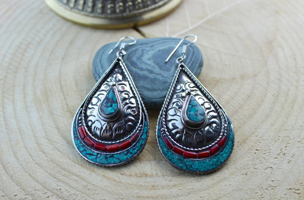 Large Turquoise and Coral Teardrop Earrings