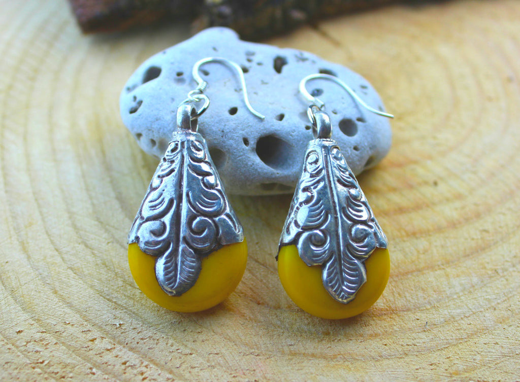 Wrapped Amber Resin Teardrop Earrings