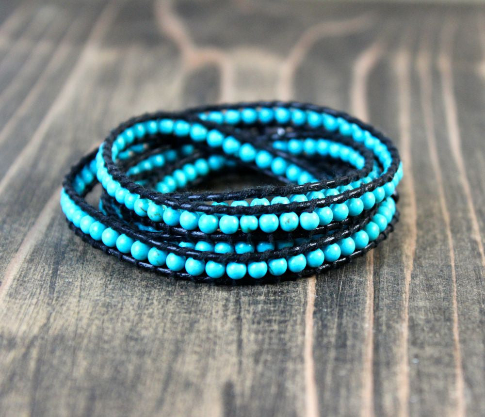 Leather Woven Turquoise Wrap Bracelet