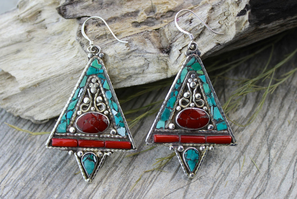 Traditional Tibetan Design Triangle Earrings
