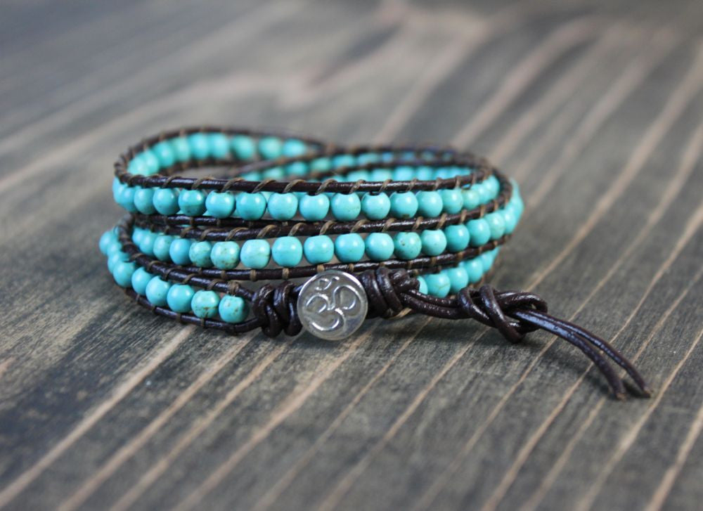 Triple Wrap Sterling OM button Wrap Bracelet