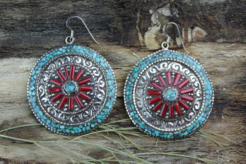 Turquoise and Coral Medallion Earrings