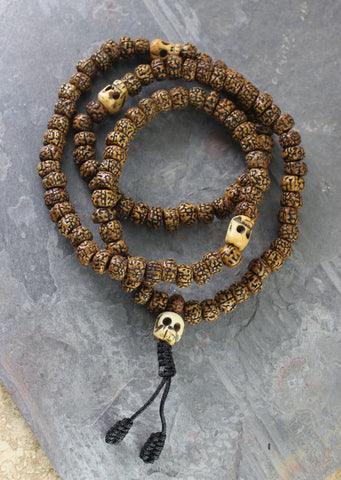Rudraksha and Skull Impermanence Mala