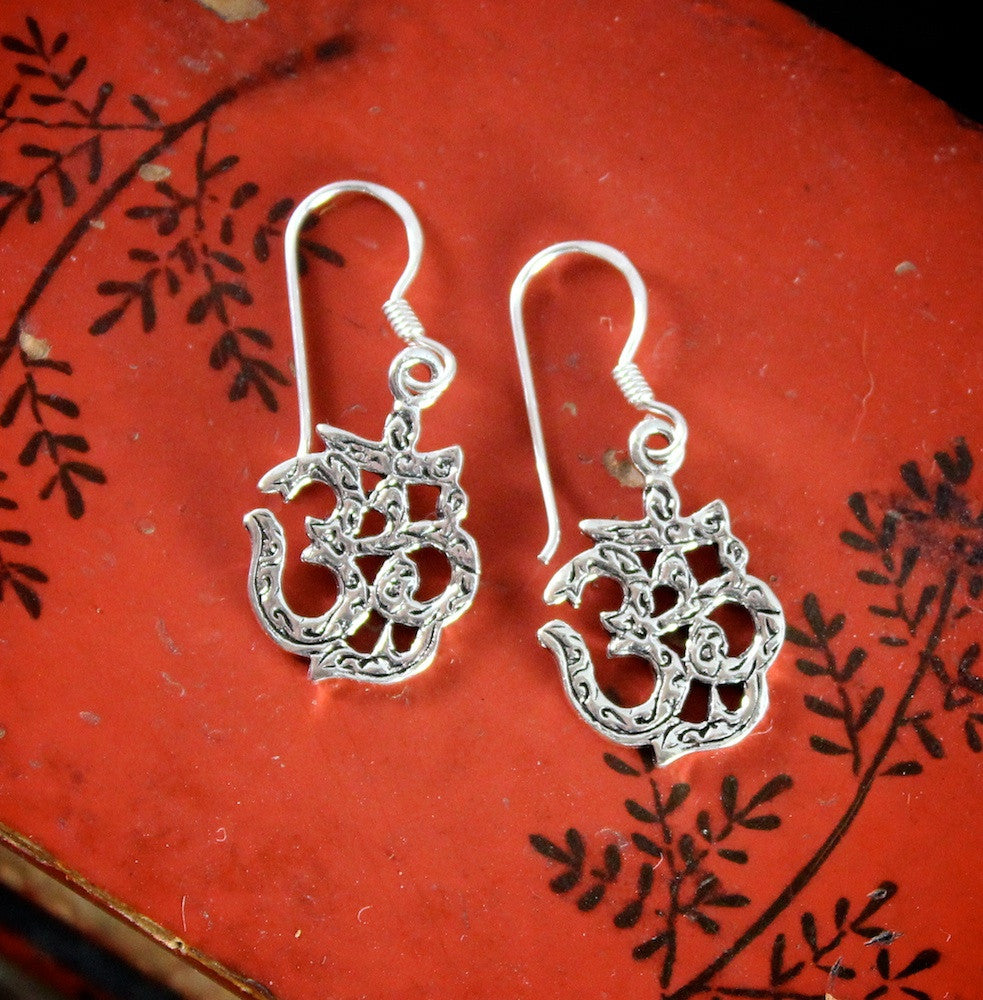 Hand Etched Sterling OM Earrings