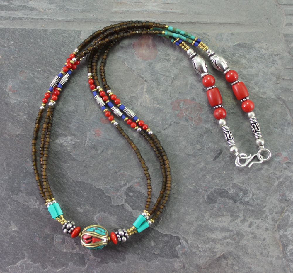 Amber Tibetan Beaded necklace