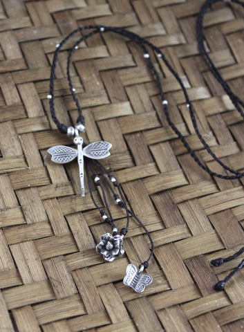 Hill Tribe Heart and Dragonfly Necklace