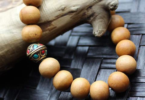 Tibetan Bead and Wood Wrist Mala