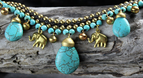Elephant Charm and Turquoise Necklace