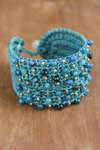 Faceted Beaded Cuff Bracelet
