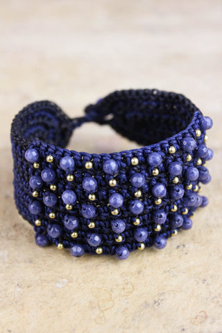 Lapis Crocheted Bracelet