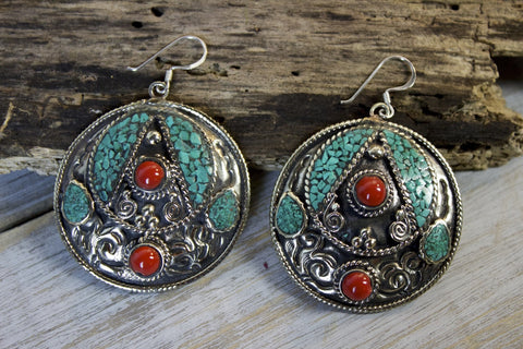 Mosaic Leaf Turquoise Earrings