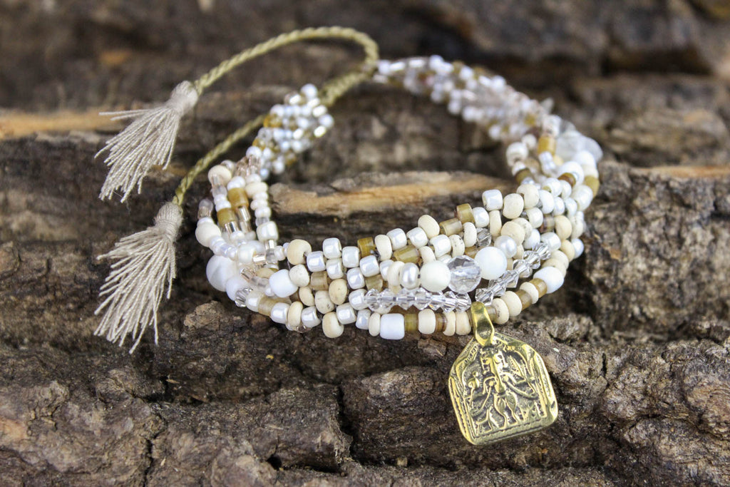 Elegantly Beaded Thai Amulet Bracelet