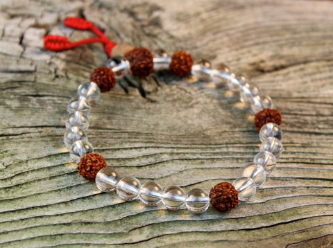 Crystal and Rudraksha Seed Wrist Mala