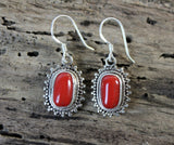 Sterling Silver and Tibetan Coral Earrings