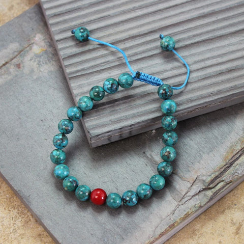 Turquoise and Coral Wrist
