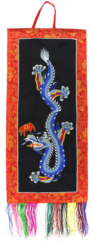 Black Dragon Embroidery Wall Hanging