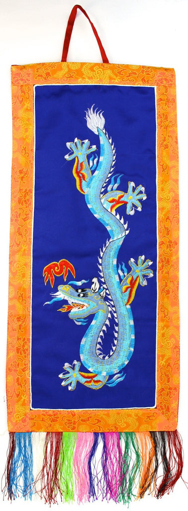 Blue Dragon Embroidery Wall Hanging