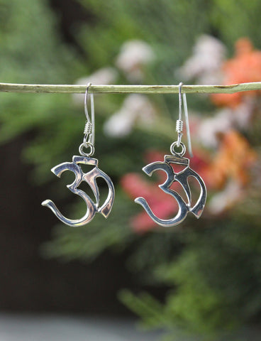 3/4 Inch Sterling Silver OM Earrings