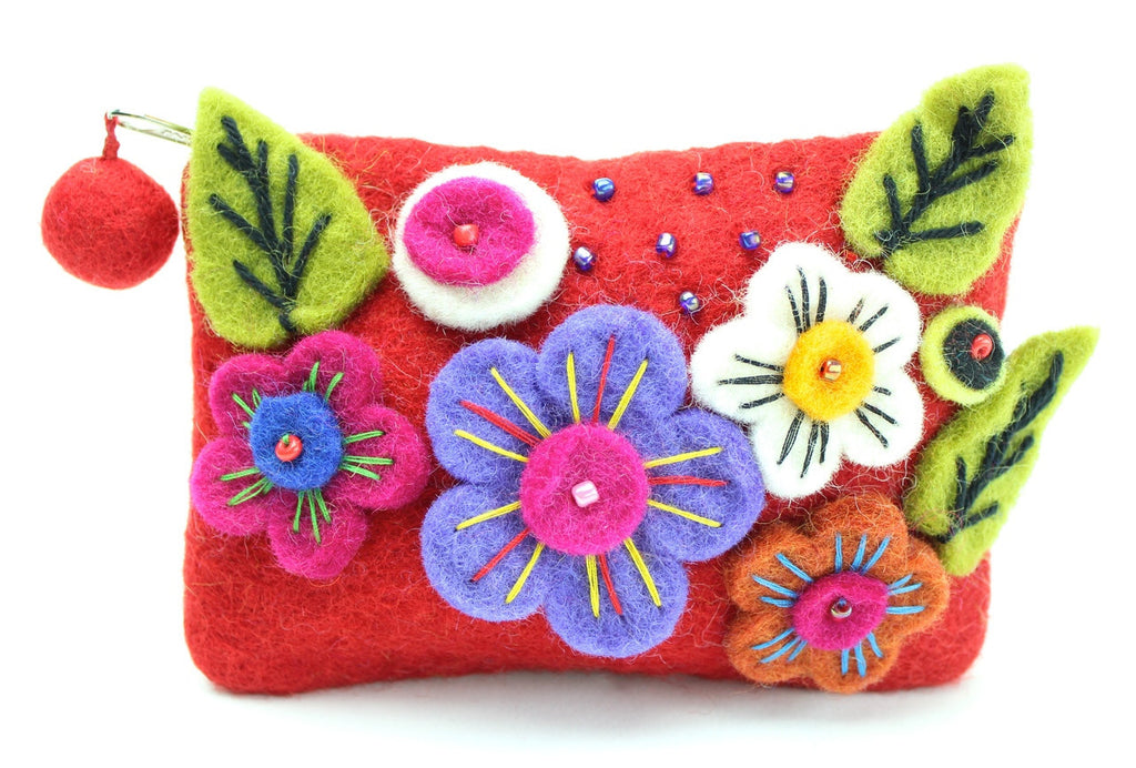 Red Flowered Coin Purse