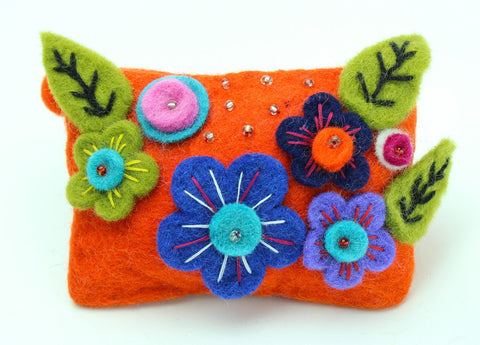 Orange Flowered Coin Purse