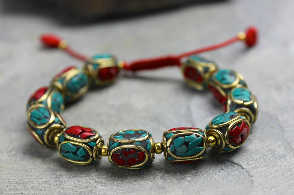 Tibetan Coral and Turquoise Beaded Bracelet