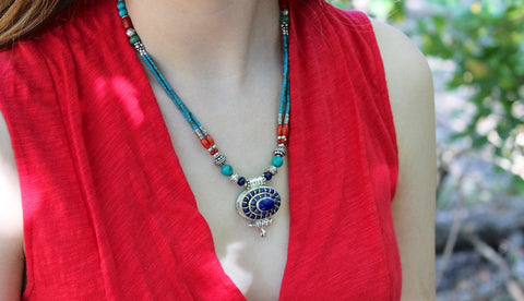 Tibetan Lapis Gau Necklace