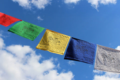 Cotton Tibetan Windhorse Prayer Flags Set of 10