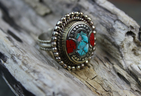 Tibetan Coral and Turquoise Adjustable Ring