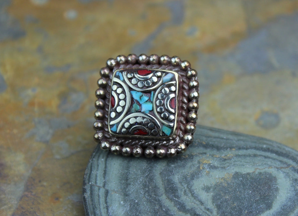 Tibetan Turquoise and Coral Adjustable Square Ring