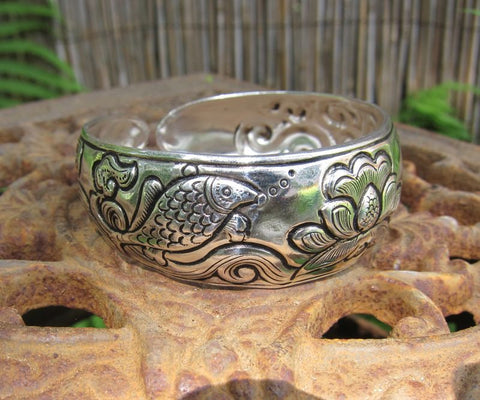 Fish and Lotus Cuff Bracelet