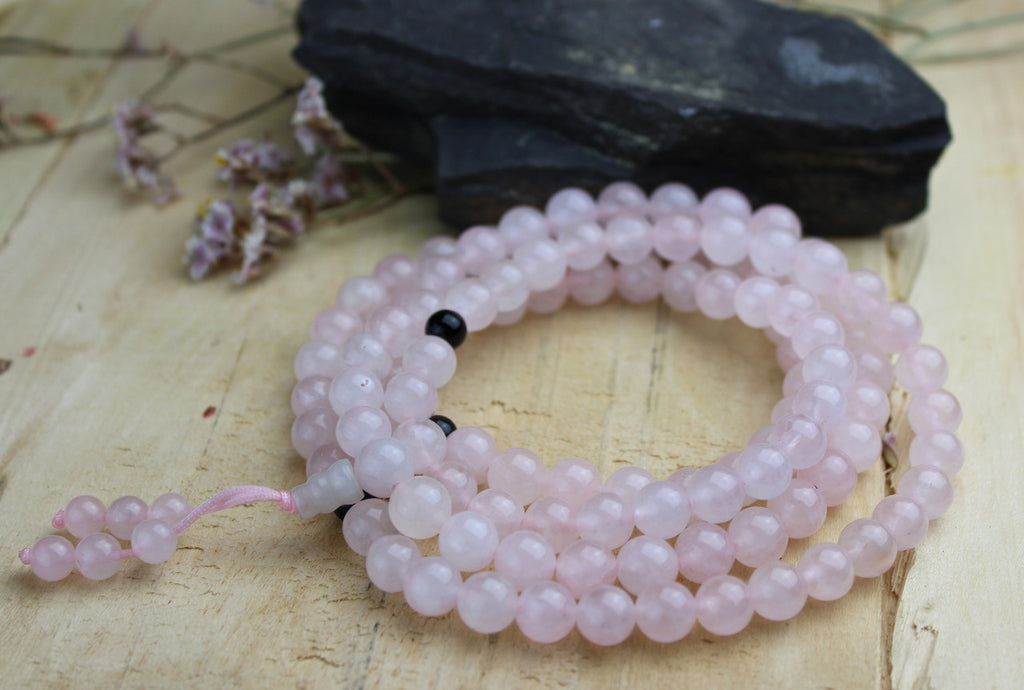 108 Bead Rose Quartz Mala with Onyx Spacers