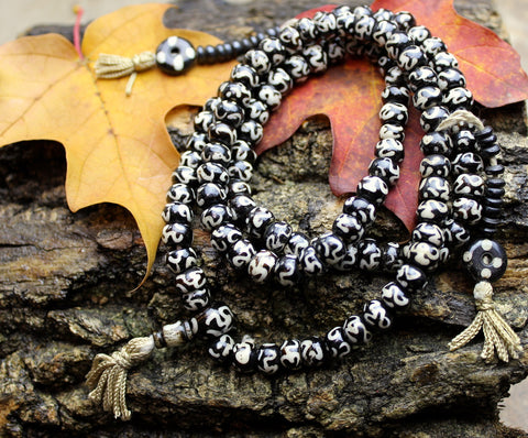 Hand Painted Om Bone Mala