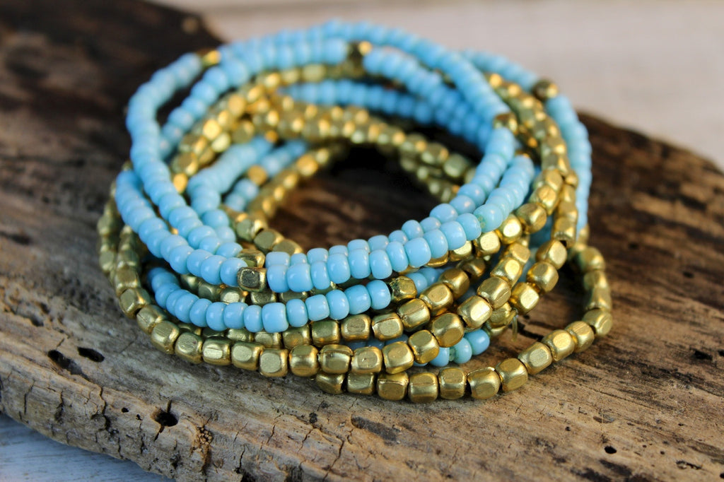 Sky and Brass Bracelet Stack