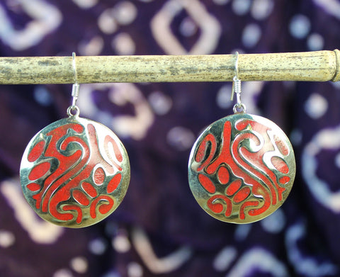 Coral Inlaid Earrings