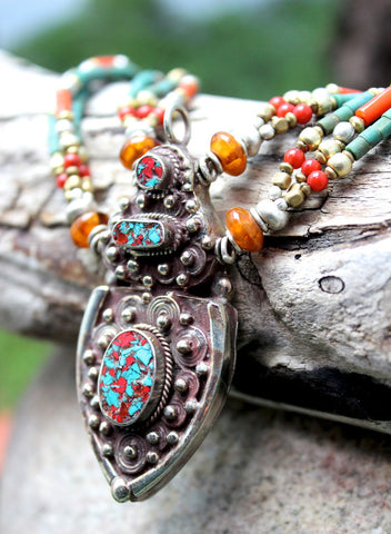Turquoise and Coral Tibetan Karma Dolma Necklace