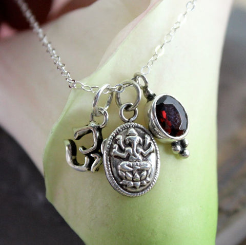 Sterling Silver Om Ganesh Necklace