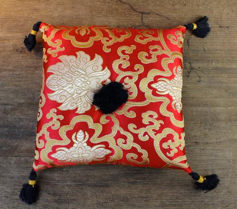 Red Lotus Singing Bowl Pillow