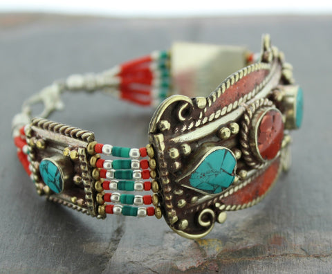 Tibetan Coral and Turquoise bracelet