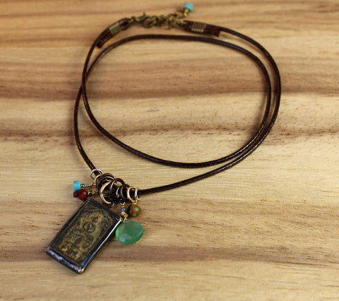 Vegan Brass and Copper Buddha Necklace