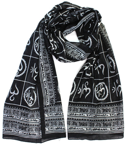 Small Om Prayer Scarf in Black
