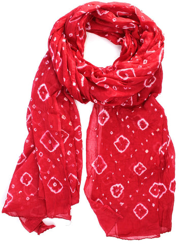 Sheer Batik Cotton Scarf in Raspberry Red