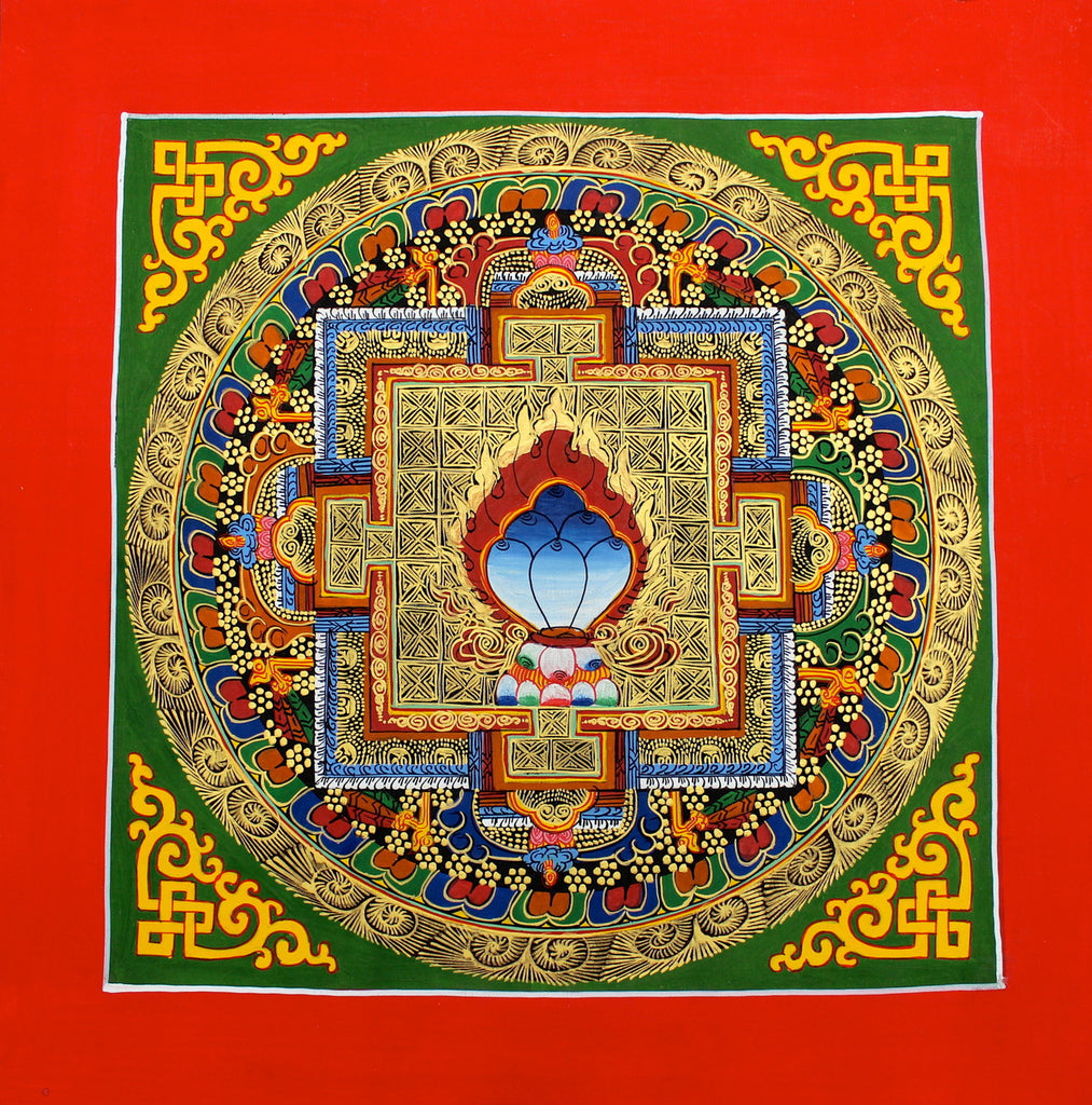 Blue Jewel Mandala on Green Thangka