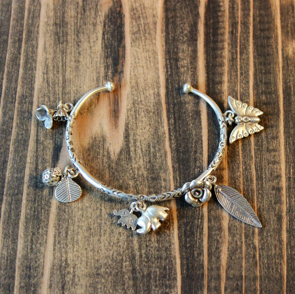 Silver Charm Bracelet With Thai Elephants