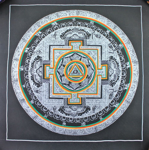 Silver painted Mandala Thangka