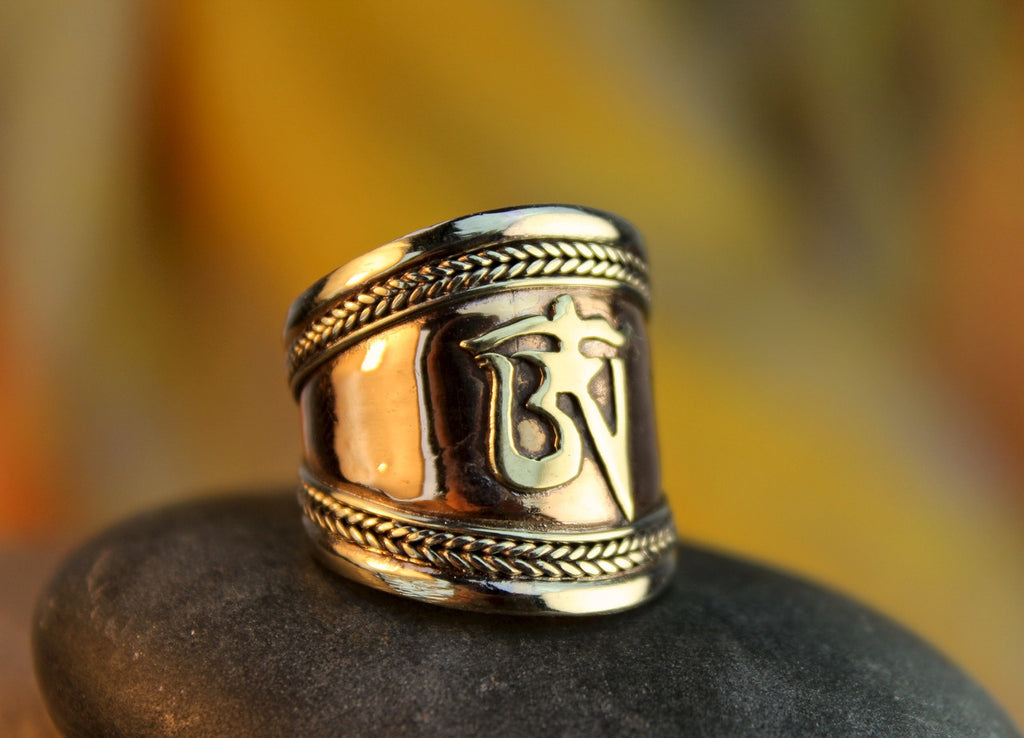 Adjustable Copper and Brass Om Mani Ring