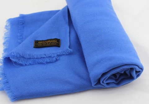 100% Pashmina Shawl in Lake Blue