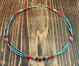 Traditional Beaded Turquoise 21 Inch Necklace