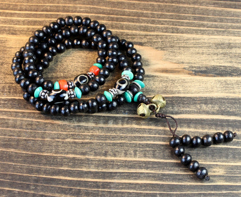Rosewood Mala with Dzi Spacers and Bells